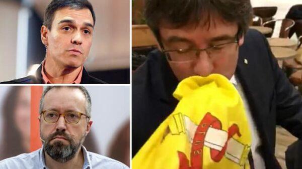 Pedro Sánchez, Juan Carlos Girauta y Carles Puigdemont