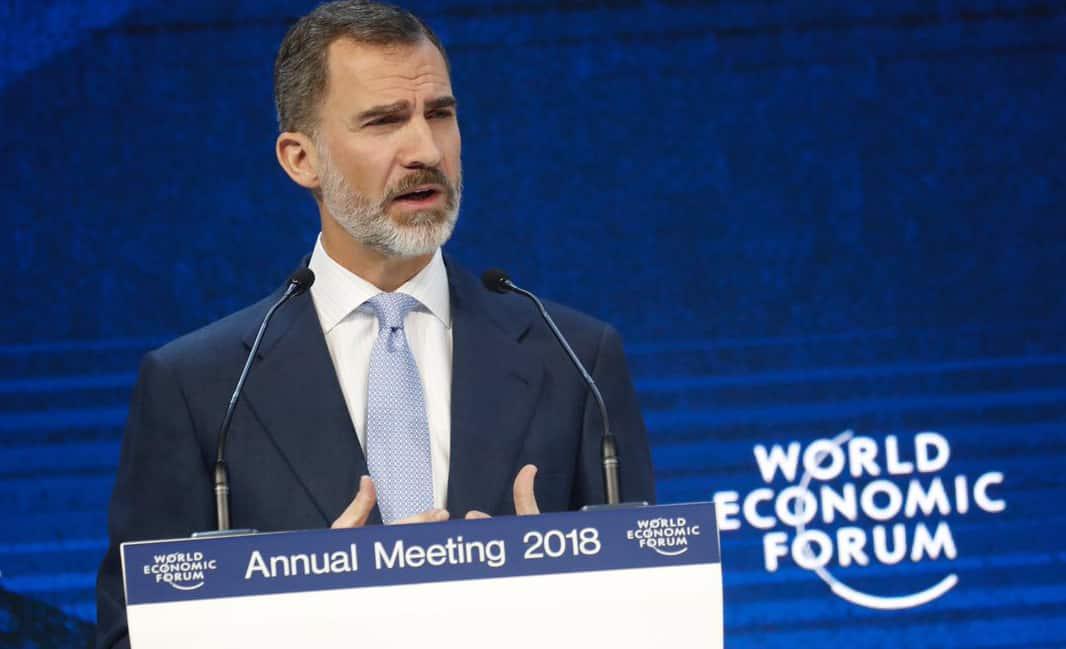 El Rey Felipe VI durante su intervención en Davos