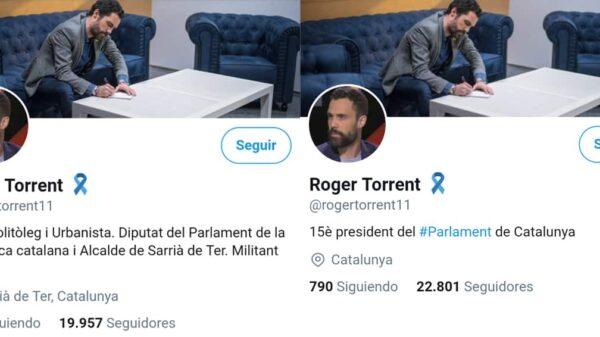 El cambio en la biografía de Twitter de Roger Torrent