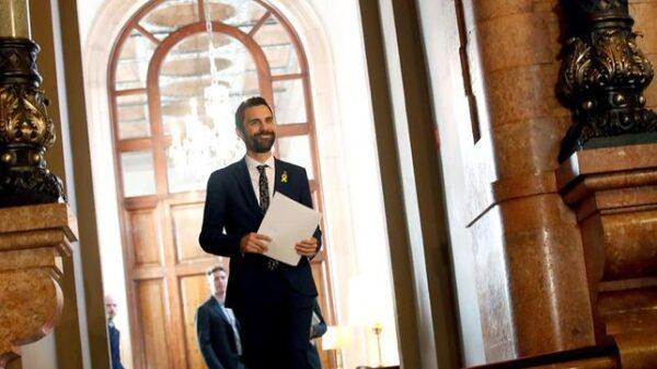 Roger Torrent durante su comparecencia en el Parlament