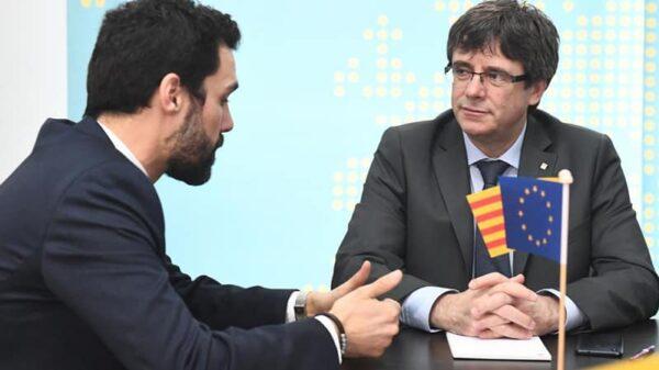 Roger Torrent y Carles Puigdemont durante su encuentro de hace unos días en Bruselas