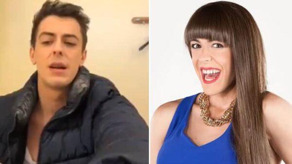 Víctor Palmero en su vídeo y como 'Alba Recio' en 'La que se avecina'