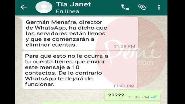 Uno de los mensajes en cadena de WhatsApp
