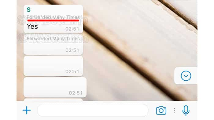 Marcación de mensajes en cadena en WhatsApp
