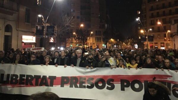 Marcha de la ANC en favor de los políticos catalanes presos