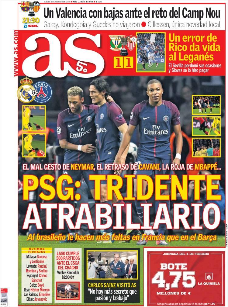 La portada del diario 'As' del 1 de febrero de 2018