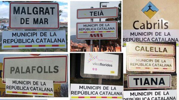 """Carteles de """"Municipio de la República Catalana"""" en pueblos del Maresme"""