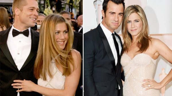 Jennifer Aniston con Brad Pitt y Jennifer Aniston con Justin Theroux