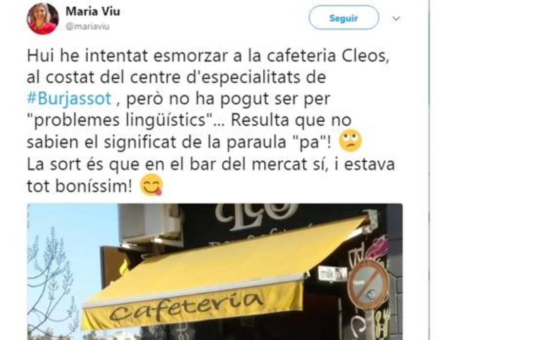 Captura del tuit de la concejal Maria Viu