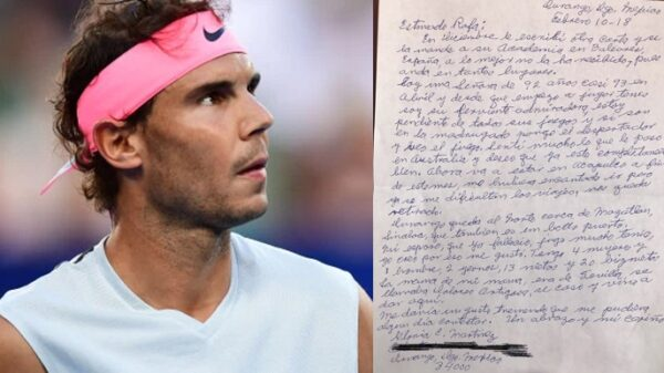 Rafa Nadal y la carta de su fan de 92 años