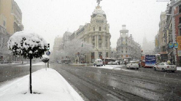 Madrid cubierta de nieve