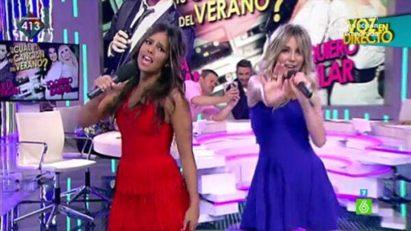 Cristina Pedroche y Anna Simón cantando