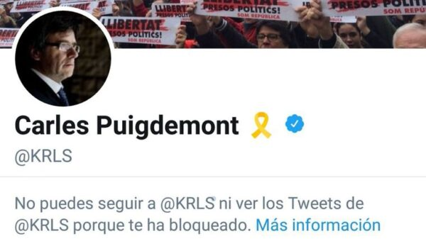 Imagen subida por Societat Civil Catalana que muestra el bloqueo de Puigdemont en Twitter