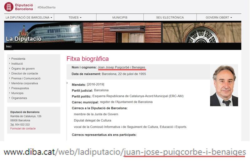 La ficha de Puigcorbé en la Diputación Provincial de Barcelona y la URL de esa página