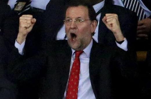 Mariano Rajoy celebrando un gol en una imagen de archivo
