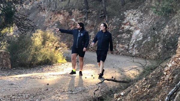 Mariano Rajoy y Fernando López Miras, de caminata en Murcia