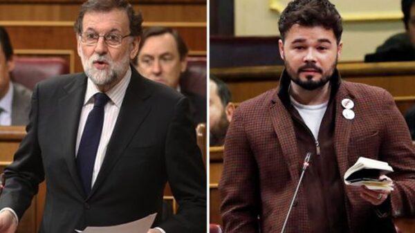 Mariano Rajoy y Gabriel Rufián durante sus intervenciones en el Congreso
