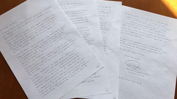 La carta de Jordi Sànchez a Roger Torrent para formalizar su renuncia