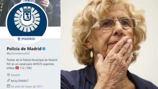 La cuenta de Twitter de la Policía Municipal y Manuela Carmena