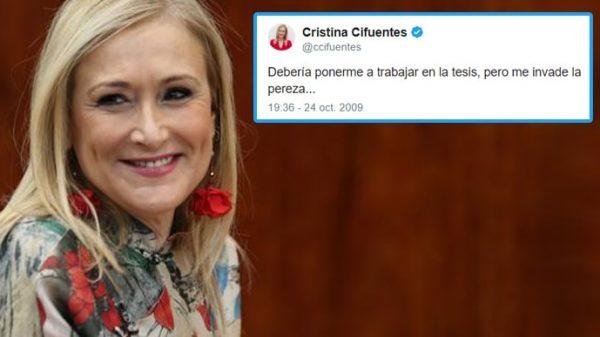 Cristina Cifuentes y uno de sus tuits antiguos