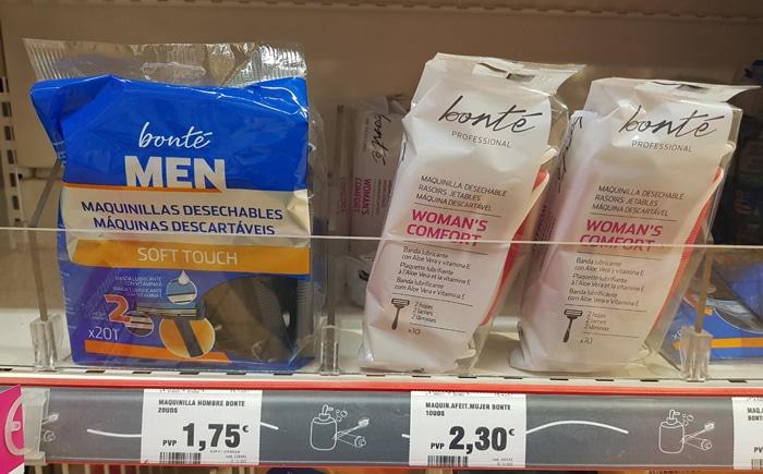Diferencia de precios entre cuchillas para hombres y para mujeres