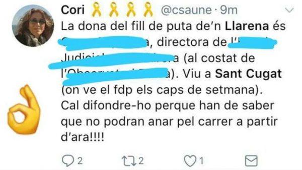 El tuit amenazante a la mujer del juez Llarena