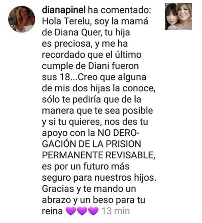 El mensaje de Diana Pinel a Terelu Campos