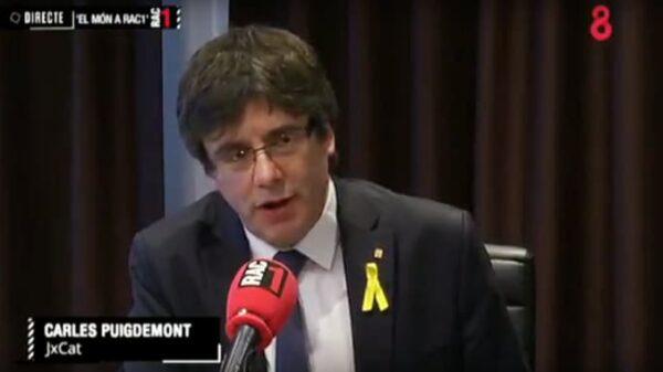Puigdemont durante su entrevista en RAC1