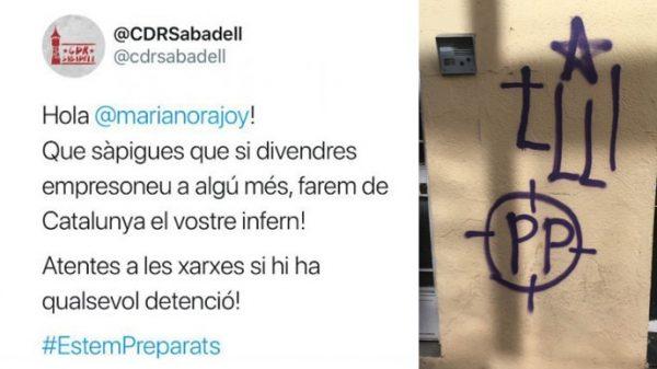 El tuit del CDR de Sabadell y las pintadas en la sede del PP