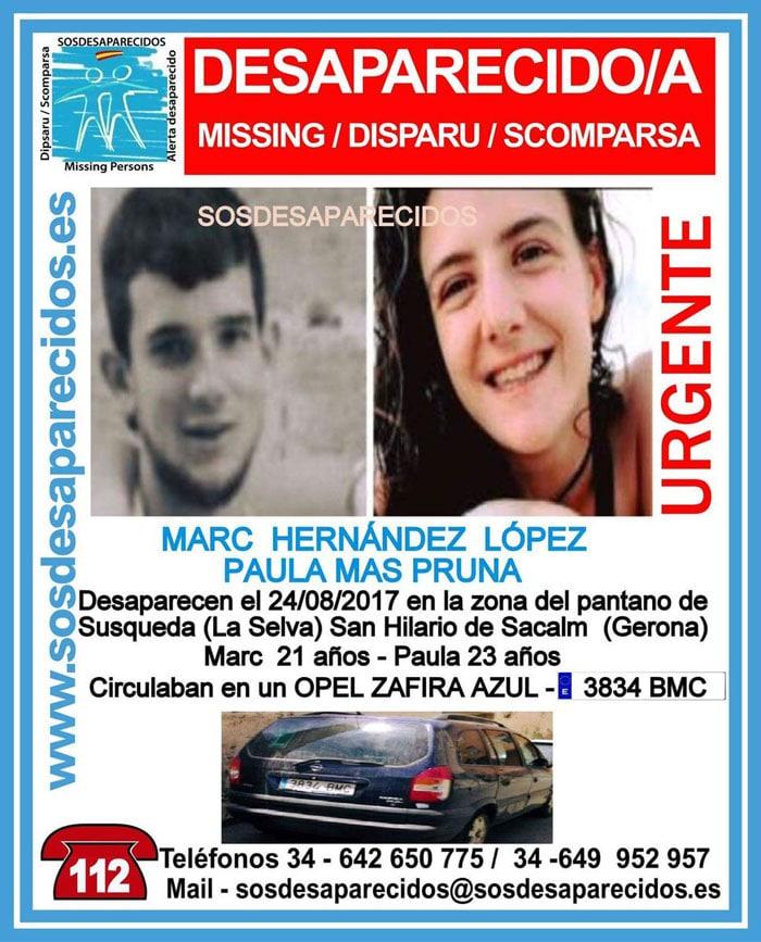 El cartel de desaparecidos de Paula Mas y Marc Hernández