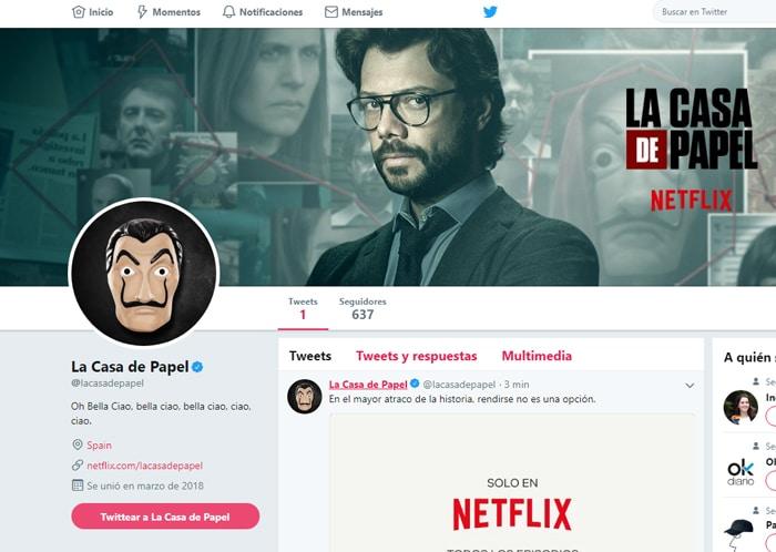 Perfil de Netflix de 'La Casa de Papel'