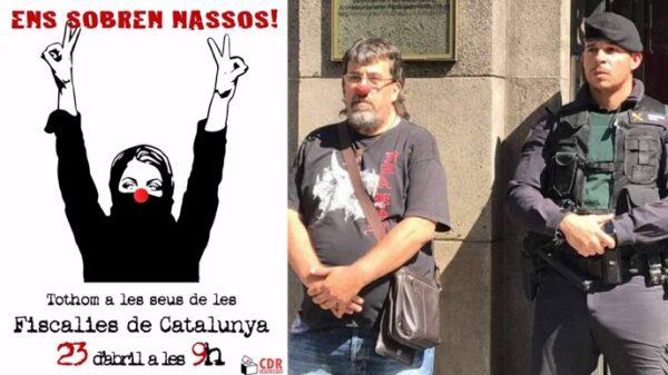 Cartle de los CDR y Jordi Pessarrodona (ERC) con una nariz de payaso