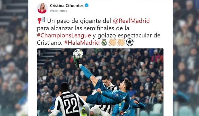 El tuit de Cristina Cifuentes tras la victoria del Real Madrid contra la Juventus
