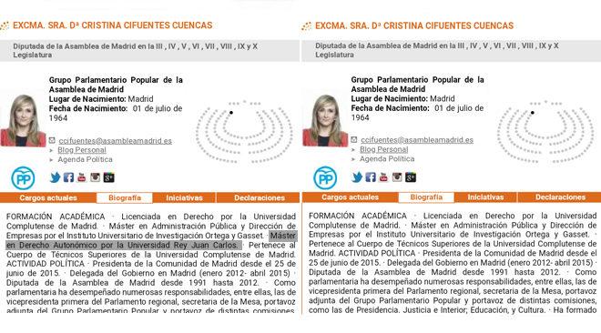 El cambio en la biografía de Cristina Cifuentes en la Asamblea de Madrid