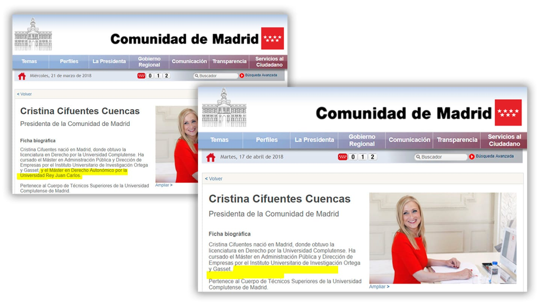 El cambio en la biografía de Cristina Cifuentes en la web de la Comunidad de Madrid