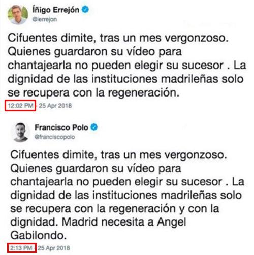 Los tuits de Íñigo Errejón y Francisco Polo