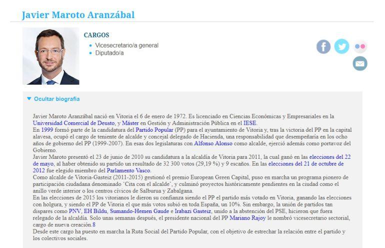 El currículum de Javier Maroto en la web del PP