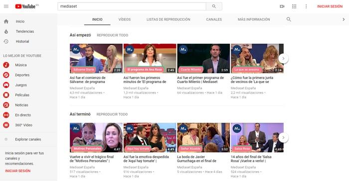 Mediaset abre por fin canal en YouTube con todos estos vídeos del ...