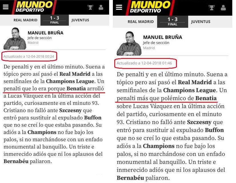 El antes y el después de la crónica de Manuel Bruña en 'Mundo Deportivo'