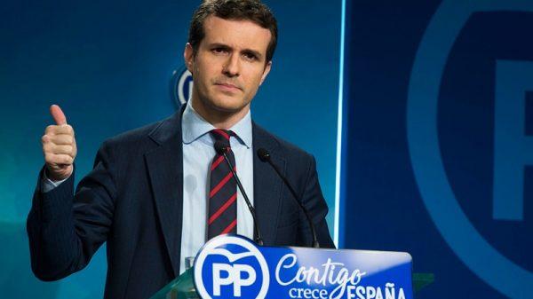 Pablo Casado en una rueda de prensa en la sede del PP