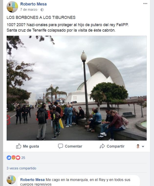 Publicaciones de Roberto Mesa en Facebook