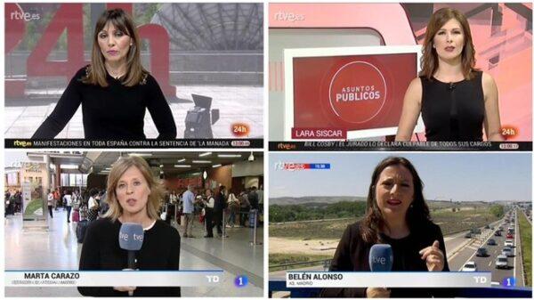 Presentadoras de RTVE vestidas de negro