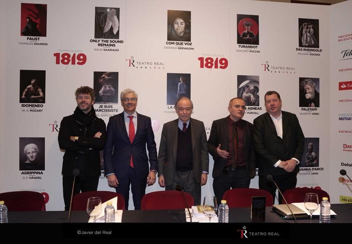 De izquierda a derecha: Pablo Heras-Casado (principal director invitado),  Ignacio García-Belenguer (director general),  Gregorio Marañón (presidente), Joan Matabosch (director artístico), Ivor Bolton (director musical)