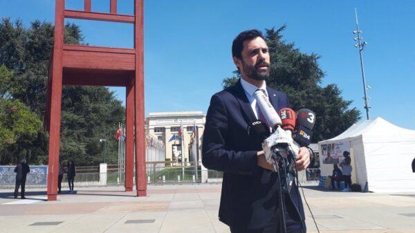 Roger Torrent durante su comparecencia en Ginebra
