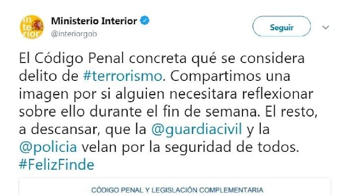 El tuit de Interior sobre terrorismo