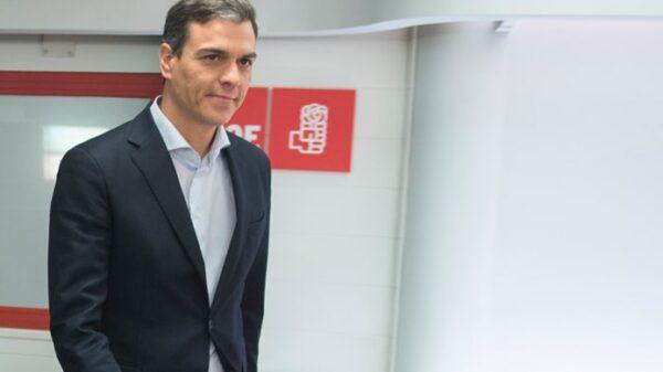 Pedro Sánchez en la sede del PSOE