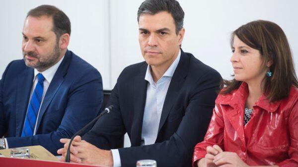 José Luis Ábalos, Pedro Sánchez y Adriana Lastra