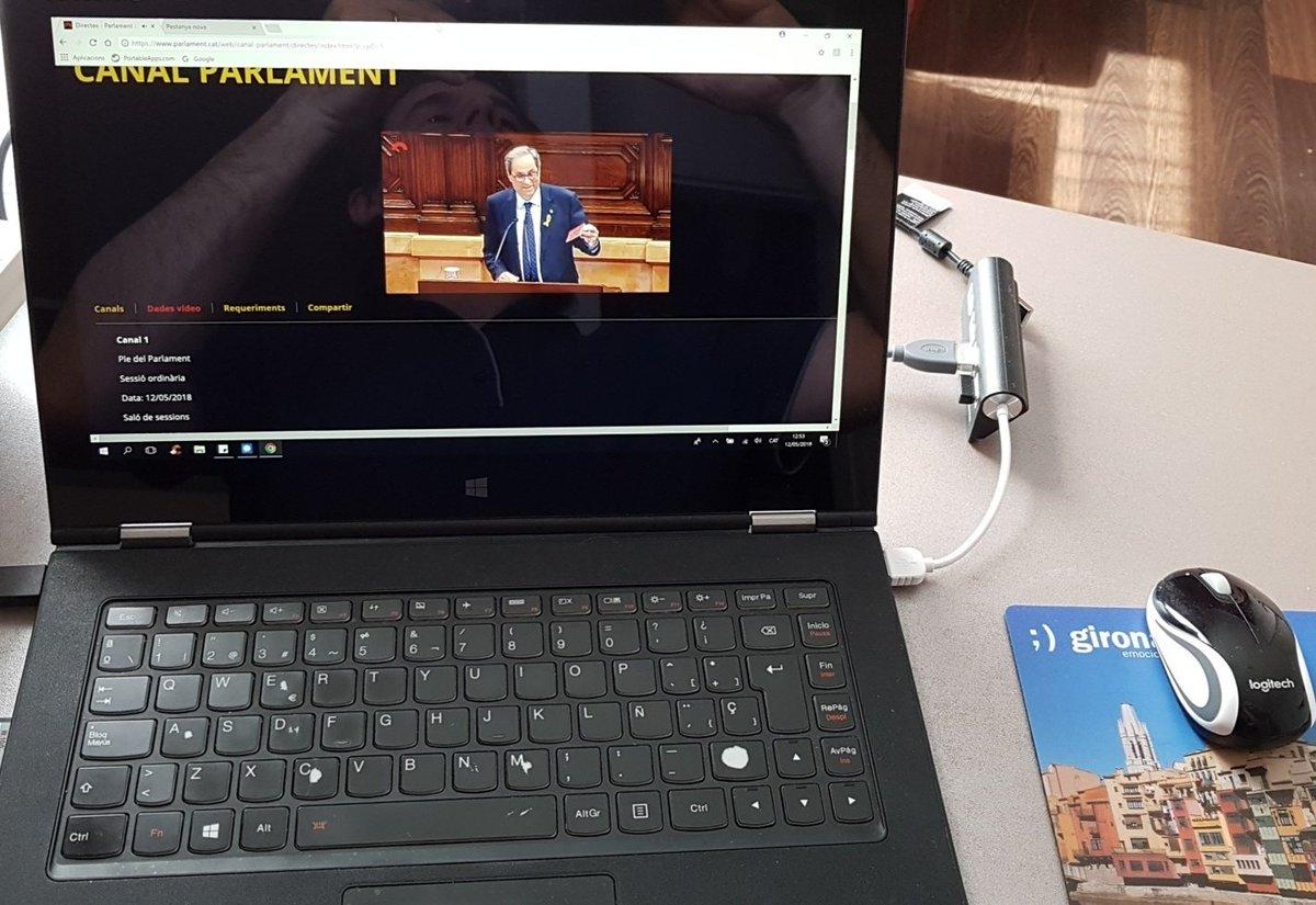 Fotografía publicada por Carles Puigdemont en Twitter siguiendo el discurso de investidura de Quim Torra