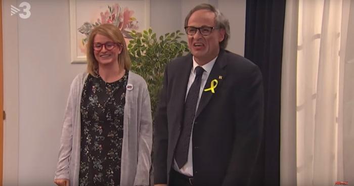 Quim Torra y Elsa Artadi representados en 'Polónia'