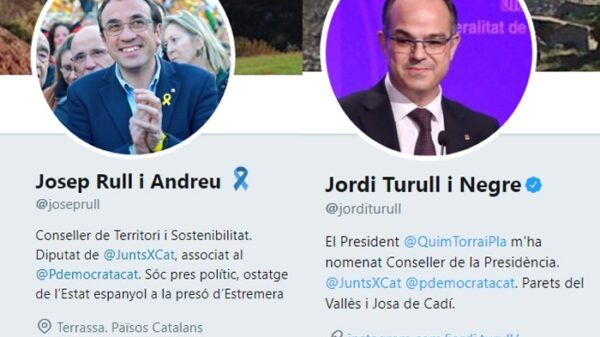 Los perfiles de Twitter de Josep Rull y Jordi Turull